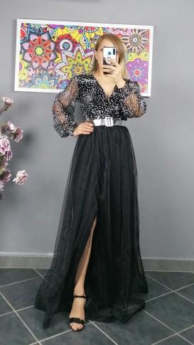 Uzun Kol Kemerli Gümüş Kabartma Desen Elbise -  Siyah