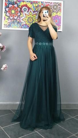 Beli Motifli Tül Etek Uzun Elbise - Yeşil