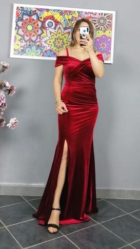 Askılı Uzun Pileli Kadife Elbise - Kırmızı