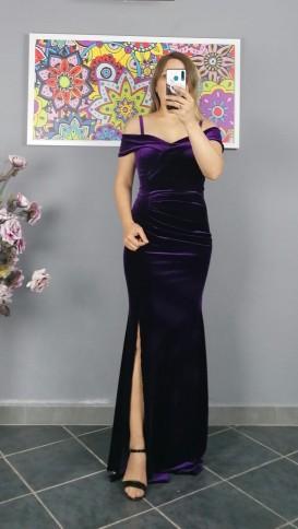 Askılı Uzun Pileli Kadife Elbise - Mor