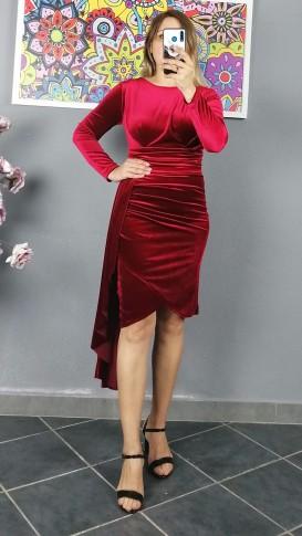 Uzun Kol Pileli Kadife Elbise - Kırmızı