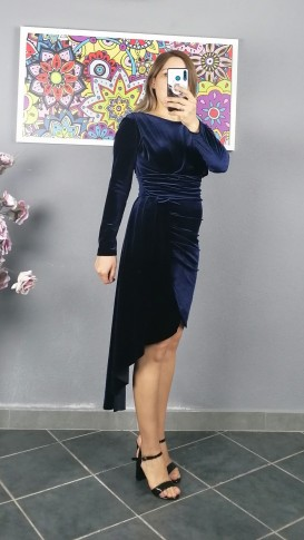 Uzun Kol Pileli Kısa Kadife Elbise - Lacıvert