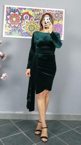 Uzun Kol Pileli Kısa Kadife Elbise - Yeşil